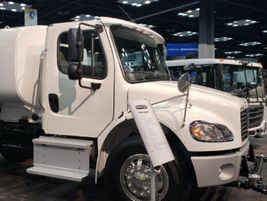 Demonstrating its many vocational applications, Freightliner featured an M2 106 upfit to be a...