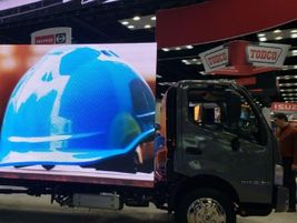 """Hino's """"virtual box"""" truck demonstrated the future possibilities of advertisements - and was..."""