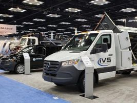 Mercedes-Benz displayed a variety of upfitted vans, including Sprinter Cab Chassis (pictured)...