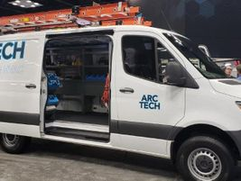 Mercedes-Benz displayed a variety of upfitted vans, including the Metris upfit for HVAC company...