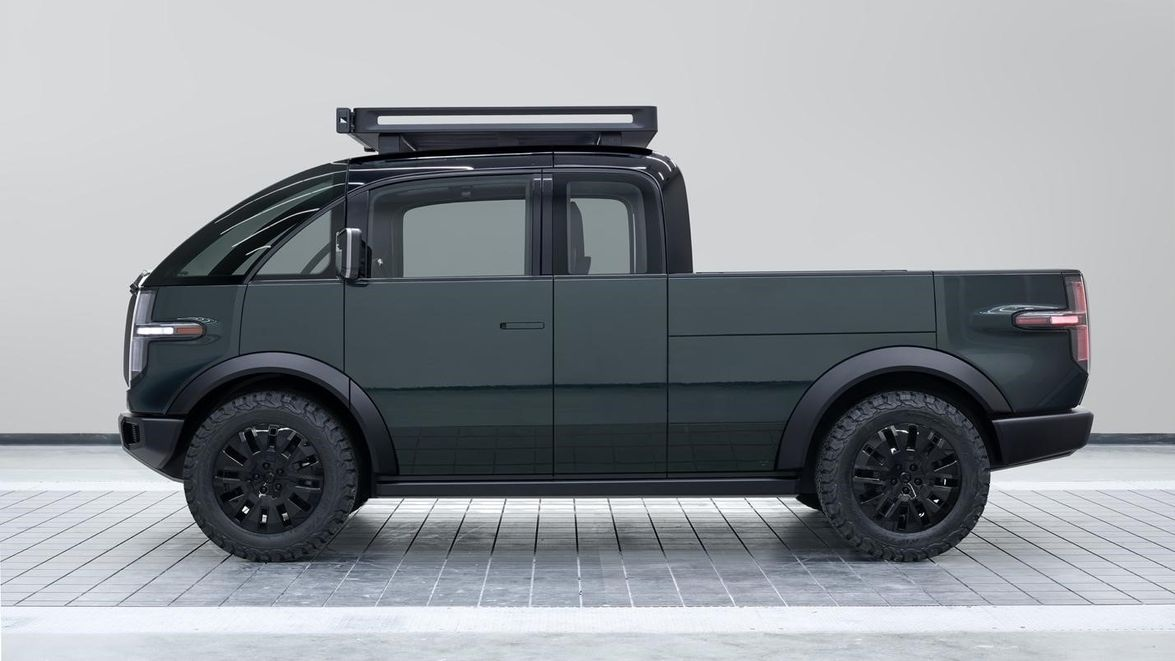 Canoo's electric pickup truck has a flatbed size comparable to a traditional pickup truck,...