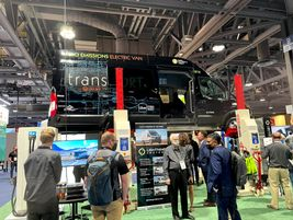This Lightning eMotors electric Transit cargo van is available in 60-mile and 120-mile range...