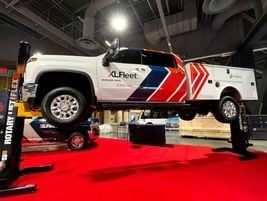XL Fleet also brought a Chevrolet Silverado 3500HD, which attendees could view from beneath...