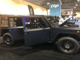"The Bollinger Motors B1 electric sport utility truckhas a raised beltline or ""shoulder""to..."
