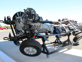 Event attendees were able to look at every element of the new trucks on a stripped down chassis...