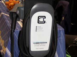 Clipper Creek displayed its electric-vehicle charging system.