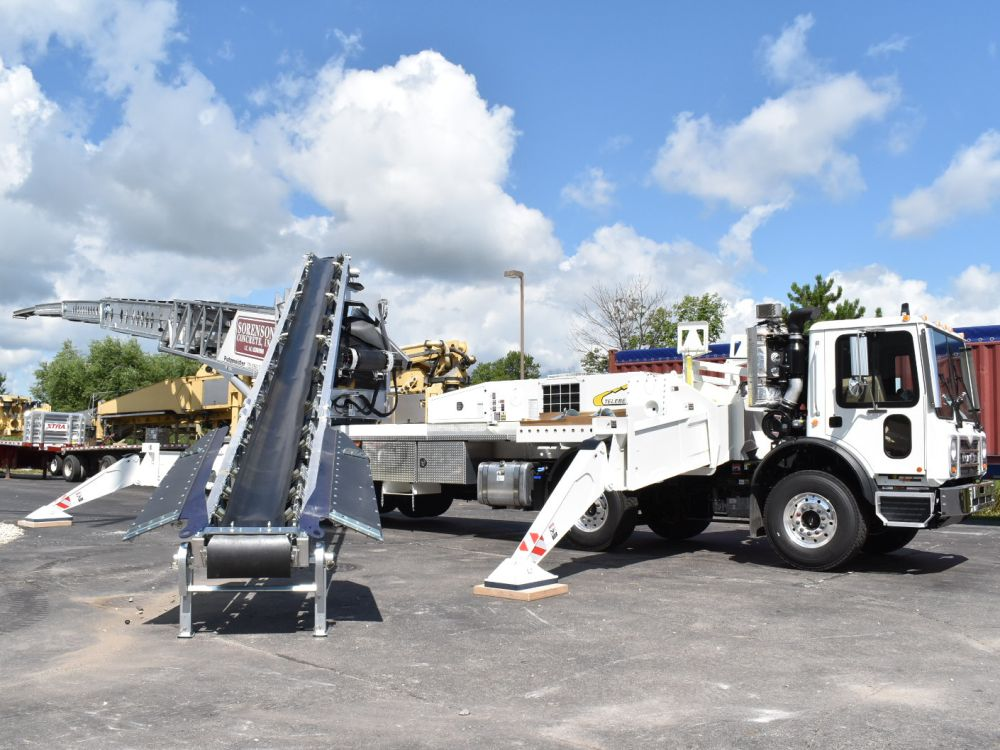 The Telebelt, developed by Putzmeister, can be used to dispense concrete as an alternative to a...