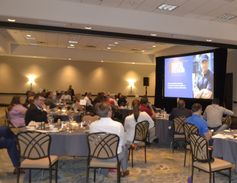 Participants came together for dinner and a quick keynote on the first night of the event.