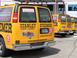 The majority of the Stanley Steemer fleet are Chevrolet vans used for carpet cleaning.