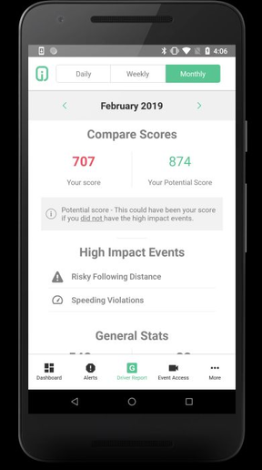 The DriveriMobileCoach App is available on selected Android and iOS devices, making it easier for the driver to stay updated on their GreenZonescore when they are not driving. - Photo courtesy of Netradyne