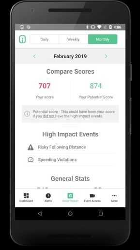 The Driveri MobileCoach App is available on selected Android and iOS devices, making it easier for the driver to stay updated on their GreenZone score when they are not driving. - Photo courtesy of Netradyne