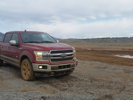 Journalists took the new diesel Ford F-150 trucks on a challenging off-road course. Photo by...