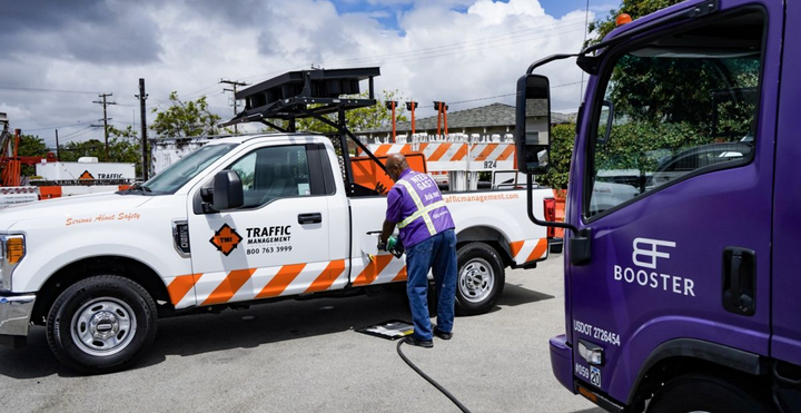 Traffic Management Inc., operates approximately 800 vehicles and utilizes Booster at 10 of it's branches.  - Photo courtesy of Booster Fuels