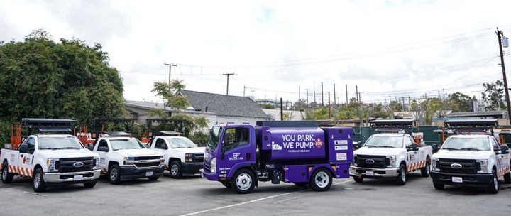 Booster's proprietary purple tanker and technology offers same-day mobile fuel delivery and holds up to 1,200 gallons of fuel. A bulkhead splits the tank in two, which allows the truck to delivery both gasoline or diesel at the same time.  - Photo courtesy of Booster Fuels