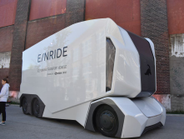 Swedish startup Einride displayed this self-driving, battery-electric transport truck, the T/Pod.