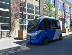 Navya showcased its battery-electric autonomous shuttle.