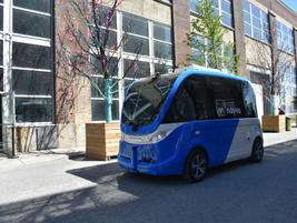 Navya showcased its battery-electric autonomous shuttle.