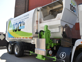 This electric refuse truck offers up to 249 miles of range on a single charge.