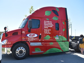 Natural gas provider Energir showcased this heavy-duty truck, which runs on renewable natural...