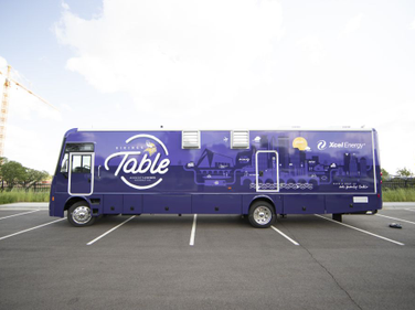 The 38-foot Vikings Table truck was designed to tackle hunger and provide nutrition education to...