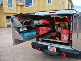 The CargoGlide Truck WallSlide system is a steel framework mounted inside a truck, which allows...