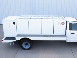 Thunder Creek Equipment's new medium-duty truck body, the Multi-Tank Upfit, can haul bulk diesel...