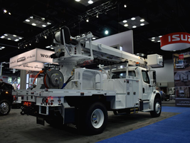 Freightliner displayed a variety of work trucks, including this M2 106 bucket truck.