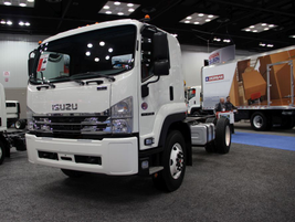 Isuzu Commercial Truck of America displayed a range of trucks, including the NRR, NQR, and FTR...
