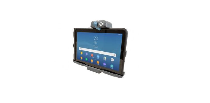 Use Gamber-Johnson's new Samsung Tab Active Pro docking station to securely hold and lock the computer in your vehicle or forklift. - Photo: Gamber-Johnson