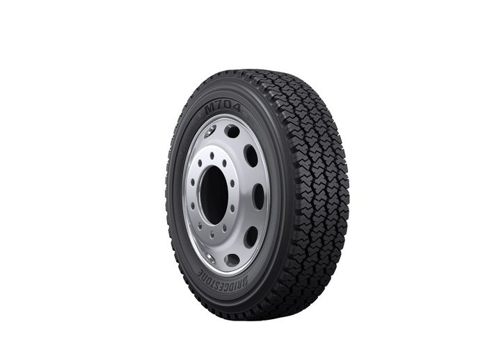 The new Bridgestone M704 tire for regional pickup and delivery service applications is now available in the U.S. and Canada in the 225/70R19.5 size with N speed rating. - Photo: Bridgestone