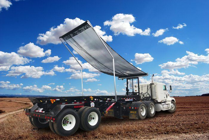 The powdercoated PTO hydraulically-operated frame is built to stand 58-inches tall and extends 36-inches vertically. - Photo: US Tarp