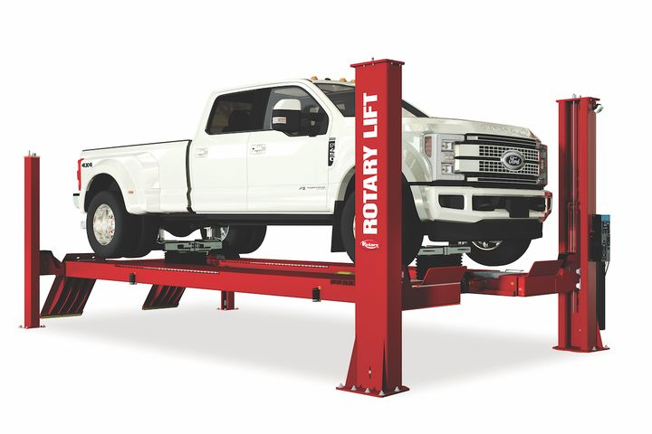 The lift can accommodate a wide range of vehicles, from passenger vehicles to larger work trucks. - Photo courtesy of Rotary Lift