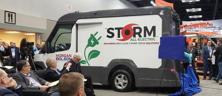 Morgan Olson also revealed a battery-electric version of the Storm prototype. - Photo by Lauren Fletcher