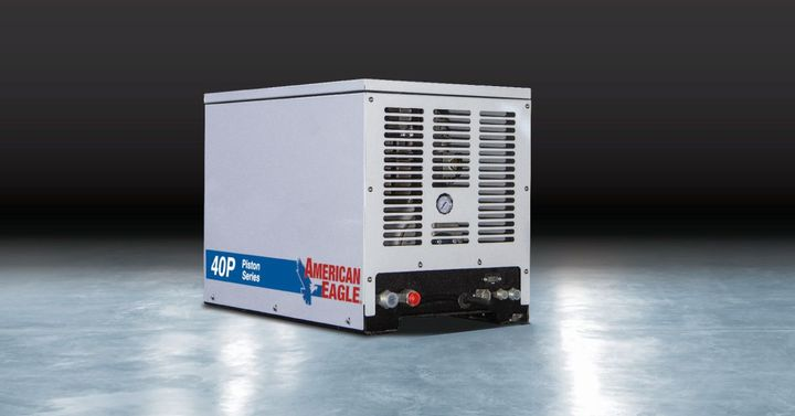 The 40P is a reciprocating compressor that uses a combination of aluminum and steel to control the weight of the unit while maintaining market-recognized longevity. - Photo: American Eagle