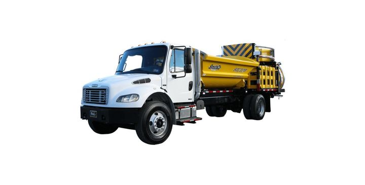 The Side Dump TMA truck has a SmithCo dump body that can dump to either side. - Photo: Royal Truck