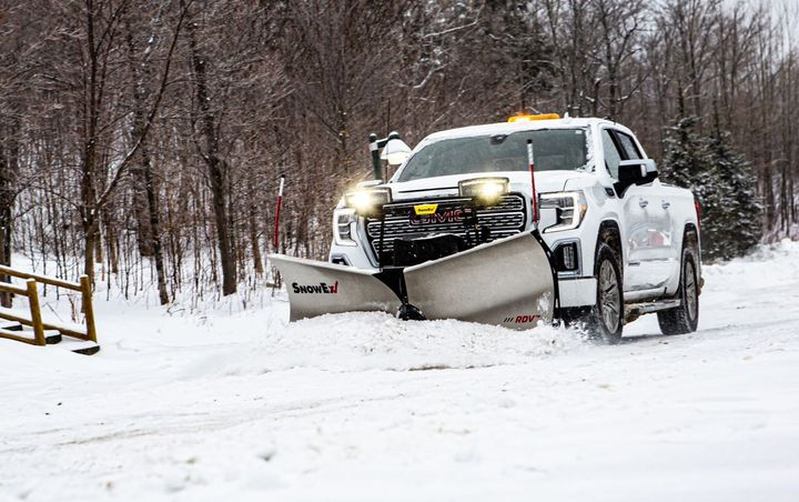 "Available with either powder-coated or stainless steel blades, the RDV V-plow is 7' 6"" wide as a straight blade or 6' 9"" wide in V mode. - Photo: SnowEx"