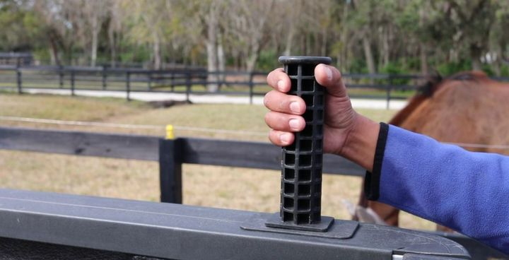 Step-N-Secureis a patented product that installs into the truck bed stake hole, giving users a dual-purpose handle for stepping into a truck bed. - Photo: Step-N-Secure