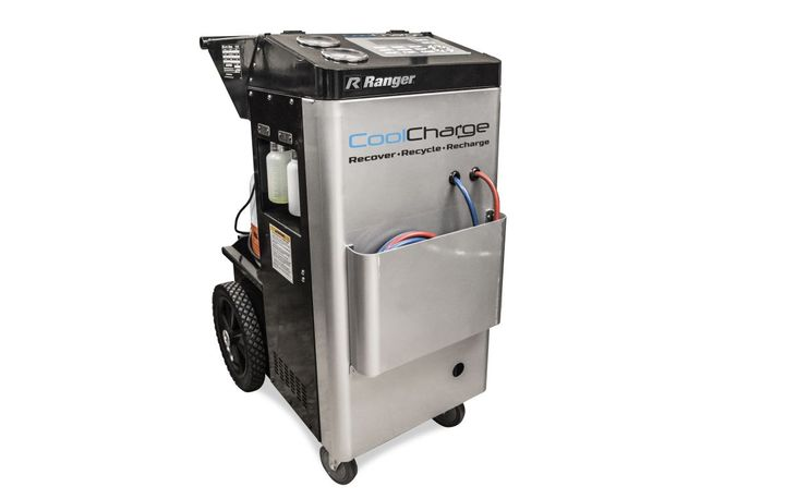 The automatic CoolCharge is programmable so once the machine is started, techs can work on other projects during the A/C system recharge and recovery process. - Photo: BendPak