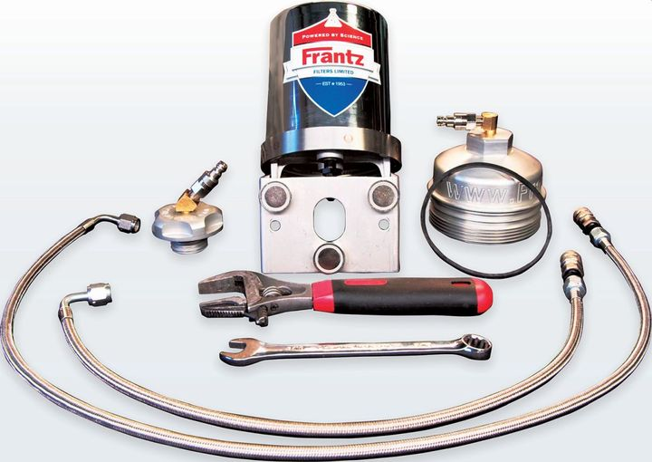 The custom system includes a Frantz filter, an oil filter cap, an oil-fill cap, a gasket and two quick-release pre-made stainless-steel braided hose lines. - Photo: Hot Shot's Secret