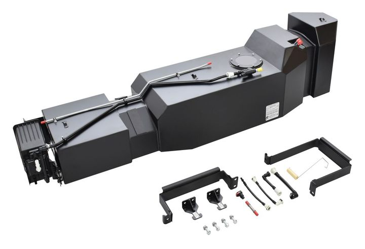 The 45-gallon high-capacity replacement fuel tank forthe Ford F-150 comes with straps and mounting hardware, and is covered by a 6-year, unlimited mileage warranty. - Photo: Transfer Flow