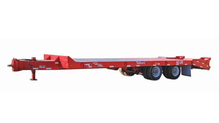 The dual axle AC-10 offers a 10-ton, 20,000-pound capacity with an overall transport length of 29 feet, 6 inches. Deck length is 24 feet — 19 feet flat with a 5-foot beavertail — with 5-foot, 5-inch self-cleaning, spring-assisted rear ramps. - Photo: Talbert Manufacturing