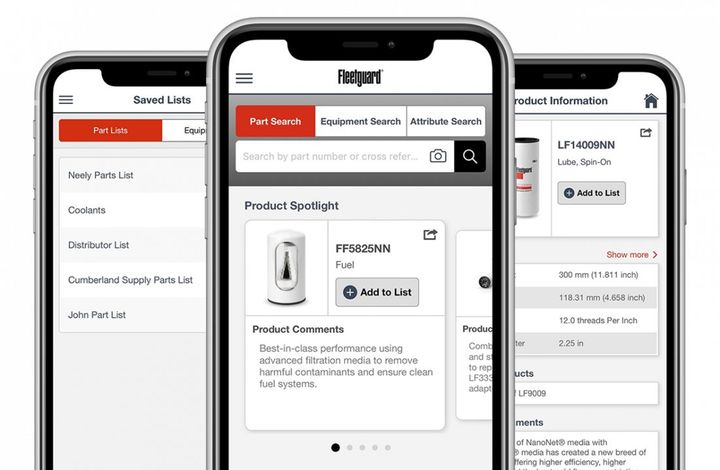 Access Fleetguard literature, training materials, and how-to videos directly from the app, without having to leave the worksite, parts truck or warehouse. - Photo: Cummins Filtration