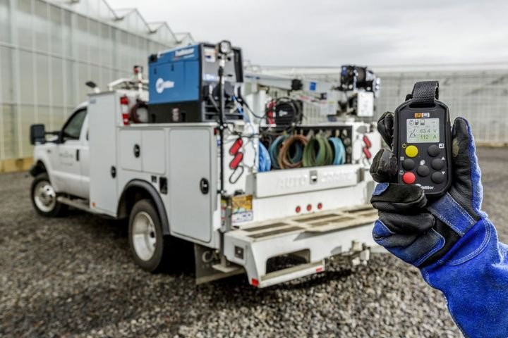 With Wireless Interface Control, operators can remotely adjust amperage and voltage, customize welding programs, turn the welder/generator on and off, and more. - Photo: Miller