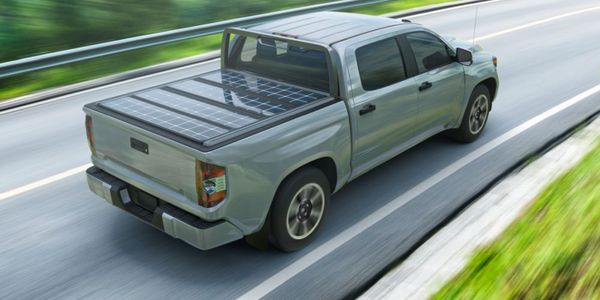Solar panels are built into a rugged tonneau cover that collect the sun's rays and store energy...