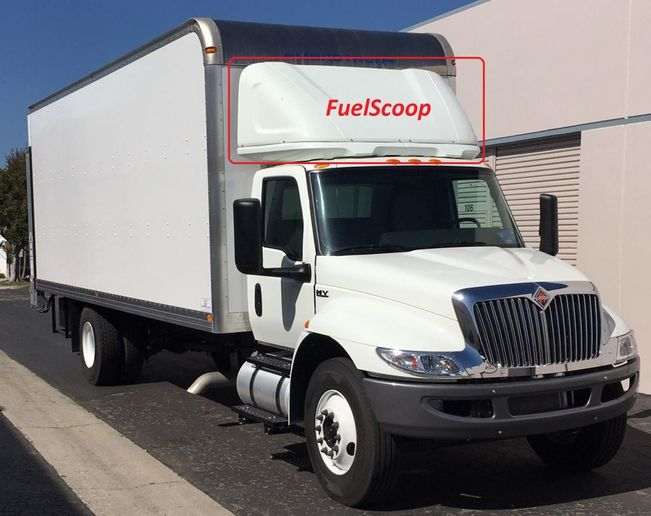 FuelScoop (dry freight) and FridgeScoop (reefer trucks) models are available for Isuzu, Hino, Mitsubishi, Mercedes/Freightliner Sprinter, Ford Transit, and now Freightliner and International medium-duty box trucks. - Photo: Aeroz Americas