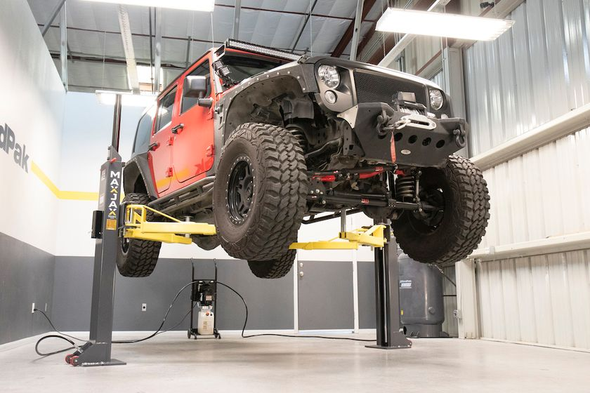 The MaxJax portable two-post lift is ideal for light trucks and SUVs in tight places.