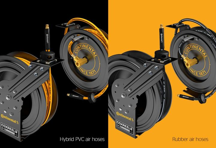 Collaborating with Continental, CoxReels developed a custom-built hose reel assembly, called the CoxReels P Series, specifically for Continental's premium rubber and hybrid air and water hose. - Continental