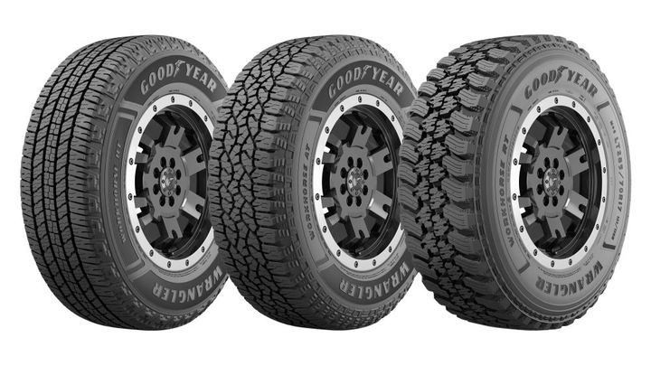 The Wranger Workhorse Powerline features three tires. The Wrangler Workhorse AT and RT feature the Three-Peak Mountain Snowflake designation and offer enhanced traction in the harshest winter weather conditions. - Photo: The Goodyear Tire & Rubber Company