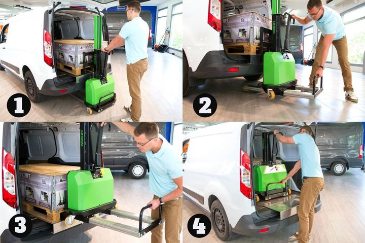 Loading and unloading heavy cargo is simple with the InnoLIFT and it's self-loading feature. - Photo: InnoLIFT