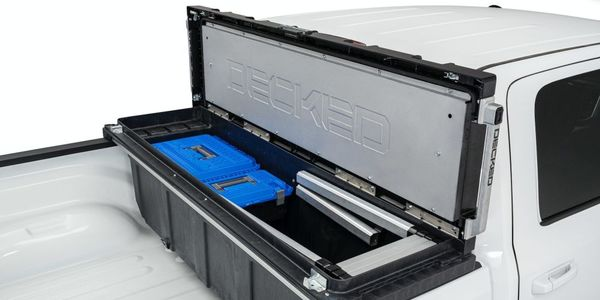 The Decked Truck Tool Box is constructed with high-impact, injection molded polymer ASA and HDPE...